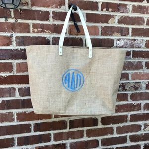 ADPI Burlap Tote Bag Mudpie Mud Pie